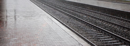Spoorweg van post van trein stock foto's