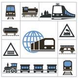 Spoorweg Vastgestelde pictogrammen Royalty-vrije Stock Afbeeldingen