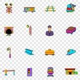 Spoorweg vastgestelde pictogrammen Royalty-vrije Stock Foto
