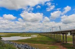 Spoorweg voor vervoer, de manier van het vervoerspoor Stock Foto