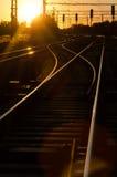 Spoorweg in Zonsondergang Royalty-vrije Stock Foto