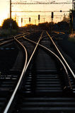 Spoorweg in Zonsondergang Stock Afbeelding