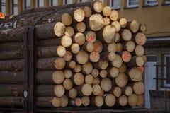 Spoorwegauto's geladen hout stock fotografie