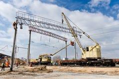 Spoorwegbouw in Kiev, de Oekraïne Stock Afbeelding