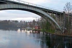Spoorwegbrug. Stock Foto's
