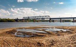 Spoorwegbrug over de Oka-rivier Royalty-vrije Stock Foto