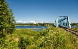 Spoorwegbrug over Torne-Rivier Stock Foto