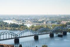 Spoorwegbrug, Riga, Letland royalty-vrije stock afbeeldingen