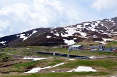 Spoorwegen aan Jungfrau-berg Royalty-vrije Stock Foto's