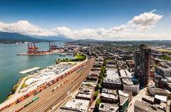 Spoorwegen en dokken van Havencentrum, Vancouver Royalty-vrije Stock Foto