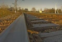 Spoorwegen. Motregen op dwarsliggers Stock Afbeeldingen