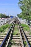 Spoorwegen op brug Royalty-vrije Stock Afbeelding