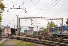 Spoorwegen van de Belangrijkste Post van Zagreb - Kroatië. Gebouwen in Stock Afbeelding