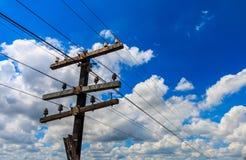 Spoorwegkabel onder blauwe hemel Royalty-vrije Stock Afbeeldingen