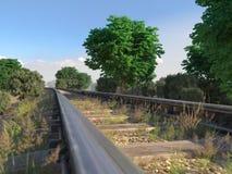 Spoorwegspoor die landelijk landschap kruisen Stock Foto