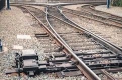 Spoorwegsporen bij station in San Diego Stock Afbeelding
