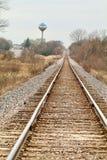 Spoorwegsporen in de horizon Royalty-vrije Stock Fotografie