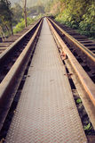 Spoorwegsporen door een bos en een platteland, Thailand Stock Foto's