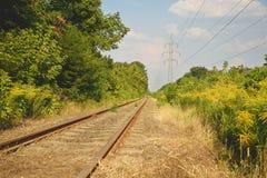 Spoorwegsporen in een landelijke scène Royalty-vrije Stock Afbeelding