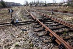 Spoorwegsporen en spoorwegschakelaar Royalty-vrije Stock Foto's