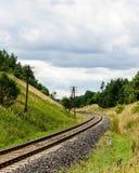 spoorwegsporen in het midden van het bos royalty-vrije stock afbeelding