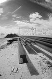Spoorwegsporen in infrarood licht Stock Afbeeldingen
