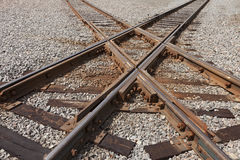 Spoorwegsporen Kruising Royalty-vrije Stock Foto