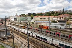 Spoorwegsporen Lissabon Royalty-vrije Stock Foto