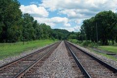 Spoorwegsporen op de banken van de Rivier van de Mississippi Royalty-vrije Stock Afbeelding