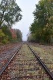 Spoorwegsporen op een nevelige dalingsochtend Stock Foto's