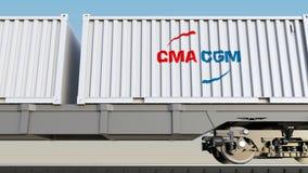 Spoorwegvervoer van containers met CMA-het embleem van CGM Het redactie 3D teruggeven Stock Foto's