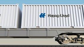 Spoorwegvervoer van containers met Hapag Lloyd-embleem Het redactie 3D teruggeven Stock Afbeeldingen