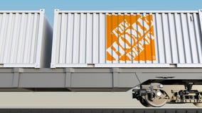Spoorwegvervoer van containers met het Home Depot-embleem Het redactie 3D teruggeven Stock Foto's