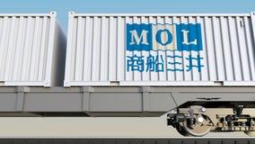 Spoorwegvervoer van containers met Mitsui O S K Lijnenembleem Het redactie 3D teruggeven Stock Fotografie