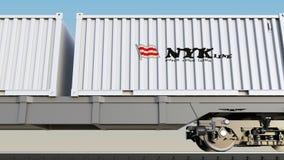 Spoorwegvervoer van containers met Nippon Yusen-embleem Het redactie 3D teruggeven Stock Fotografie
