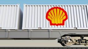 Spoorwegvervoer van containers met Shell Oil Company-embleem Het redactie 3D teruggeven Royalty-vrije Stock Afbeelding