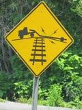 Spoorwegwaarschuwingsbord Stock Foto