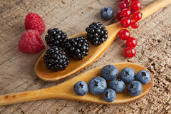 Spoos with berries. Autumn berries and wooden spoons on an old board Stock Image