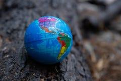 Spopielanie ro?liny s? szkodliwe ?rodowisko Planety ziemia rzuca w grat ?mieci oparzenie, dymu komes zdjęcia stock