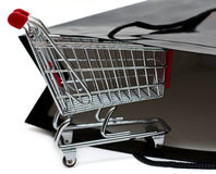 Spopping bag and cart Royalty Free Stock Photo