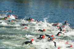 Spor in water. PONTEVEDRA, SPAIN - JUNE 21, 2015: Detail of the participants in the Spain Championship Elite Sprint Triathlon, held in the city Stock Image