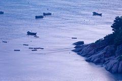 Sporadic fishing boat - Xiapu scenery royalty free stock photography