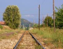 Sporen bij platteland stock foto's