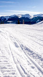 Sporen in de sneeuw met bergen Stock Afbeelding
