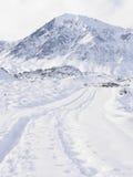 Sporen door Sneeuw Stock Afbeeldingen