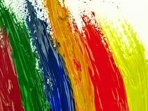 Sporen kleurrijke borstel op een wit blad van document Stock Fotografie