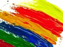 Sporen kleurrijke borstel op een wit blad van document Royalty-vrije Stock Fotografie