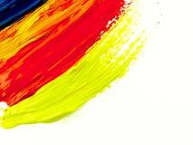 Sporen kleurrijke borstel op een wit blad van document Stock Foto