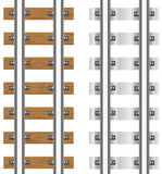 Sporen met concrete en houten dwarsbalken Royalty-vrije Stock Afbeeldingen