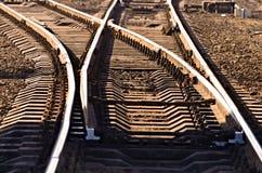 Sporen op de spoorweg stock foto